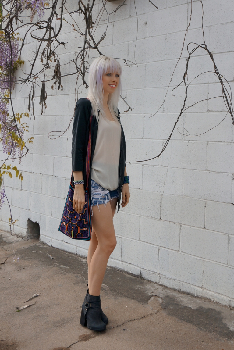 Platinum blonde hair with lavender