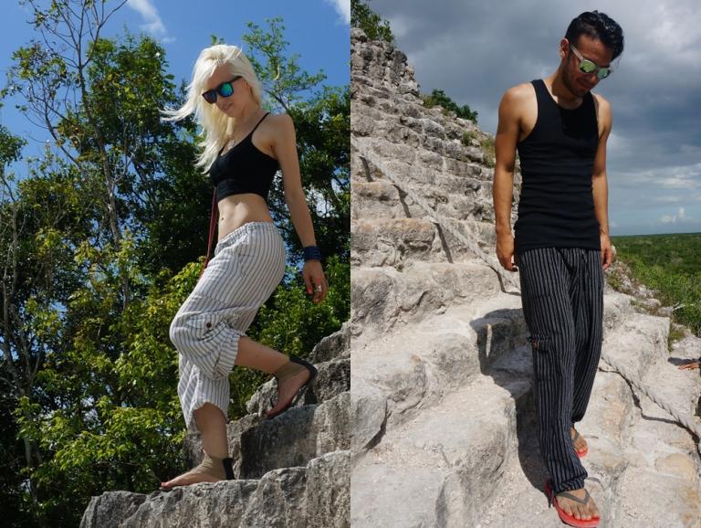 walking down coba pyramid