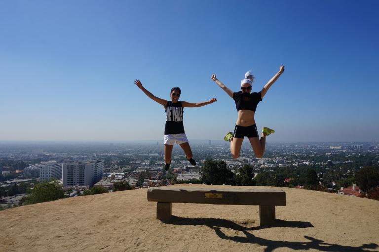 girls jumping Runyon Canyon