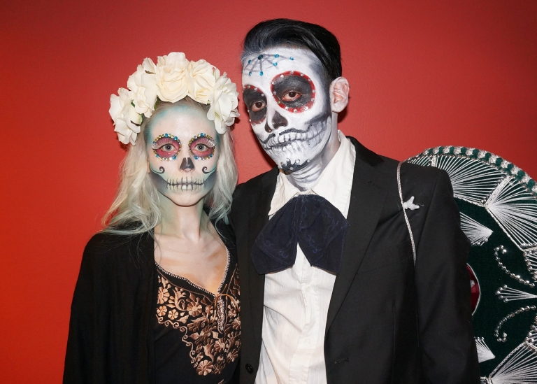 male and female sugar skull makeup