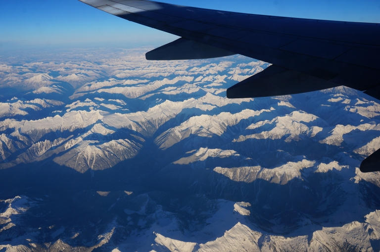 Canada Mountains from airplane