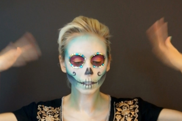 jewels around eyes for sugar skull makeup