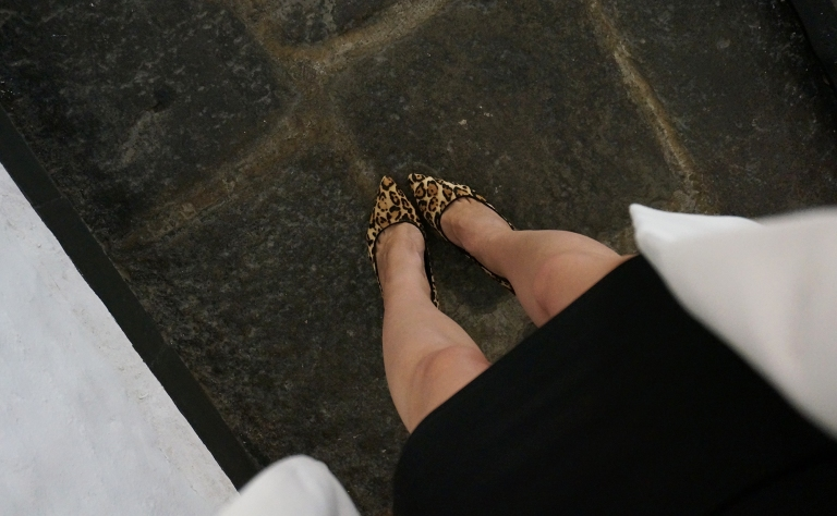 White house black market leopard print shoes