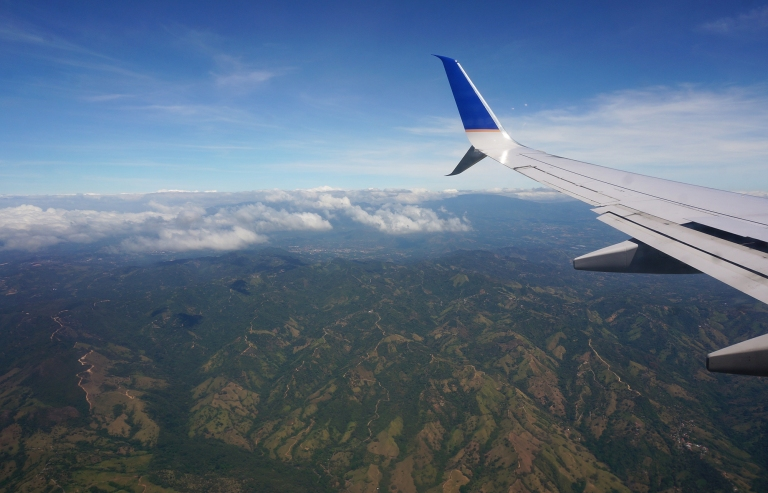 wing shot flying in to San Jose Costa Rica