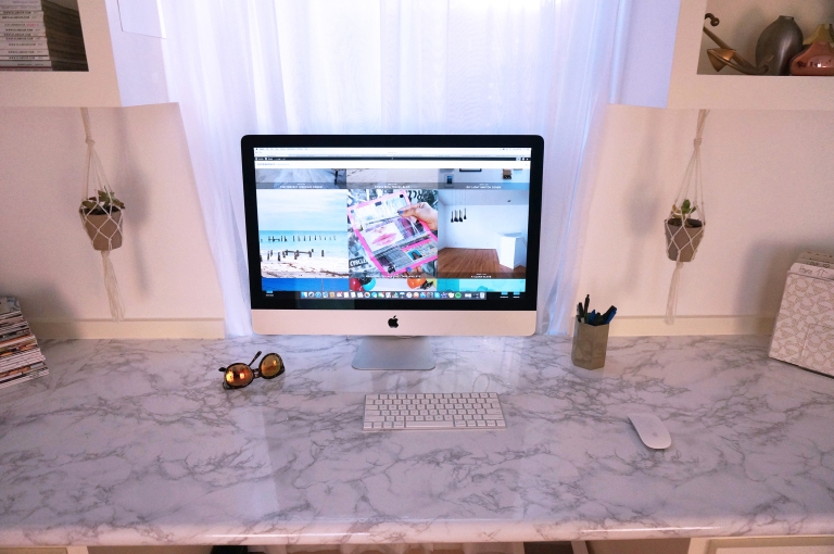 Marble contact paper desk transformation AFTER