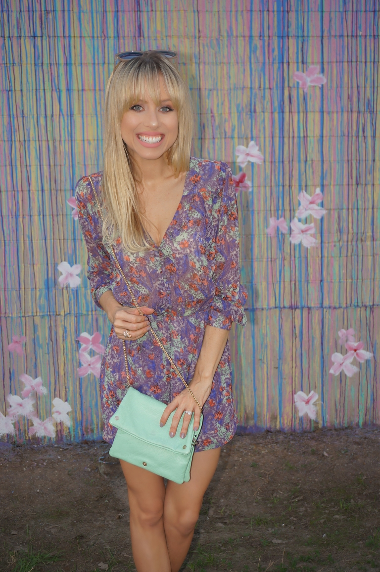 Houston fashion blogger superholly wearing purple florals