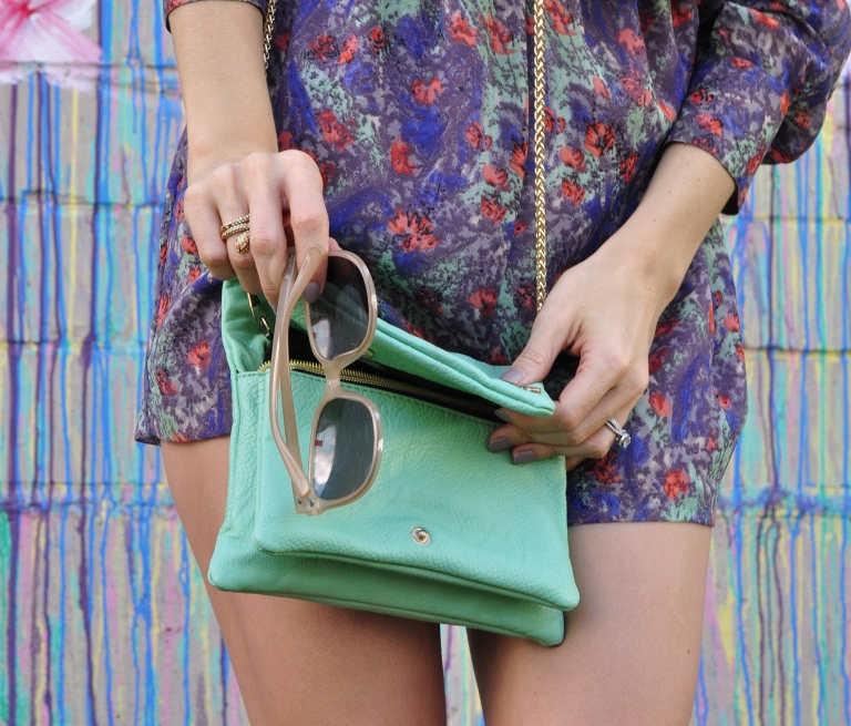 mint green cross body purse